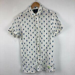 Scotch & Soda Mens Linen Button Up Shirt Size M White Blue Short Sleeve