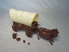 Classic Toy Soldiers Conestoga Wagon Brown w/ Cream Top, 2 horse (54Mm)