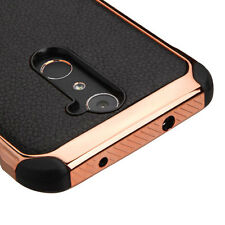 BLACK ROSE GOLD Lychee COVER CASE + Tempered Glass Screen FOR ZTE Zmax