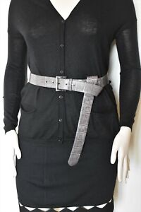 MAX MARA , FIORE Runway Leather Belt in Gray, Size L