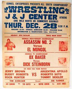 Vintage 1972 Ann Gunkel All South Championship Wrestling Event Poster Ox Baker