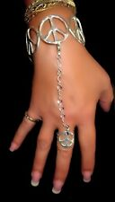 Peace Hand Bracelet Peace Ring Detatchable Chain Silver sp Made in USA