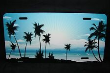 SUNSET METAL NOVELTY LICENSE PLATE TAG FOR CARS PALM TREES
