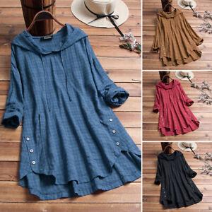 US Stock Zanzea Women Plaid Check Long Shirt Tops Hoodies Asymmetrical Blouse