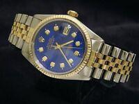 Rolex Datejust Mens 18k Gold & Steel Watch w/ Submariner Blue Diamond Dial 16013