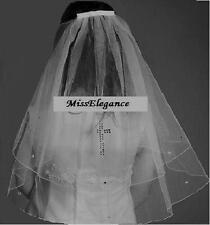 Communion veil White Ivory 2 tier veil w Cross communion veil Shoulder, Elbow