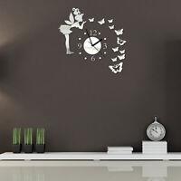 Fairy Butterfly Acrylic Mirror 3D Wall Clock Wall Sticker Home Room Decor Well