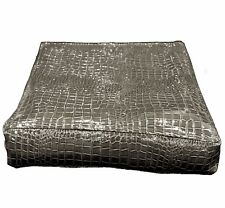pd1018t Grey Brown Faux Crocodile Glossy Leather 3D Box Seat Cushion Cover