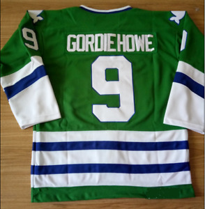 Hartford Whalers Green Gordie Howe Jersey M, L, XL, 2XL, 3XL