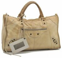 Authentic BALENCIAGA Classic Work Hand Bag Leather Cream B2790