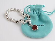 Tiffany & Co Silver Black Onyx Carnelian Gemstone Heart Bracelet!