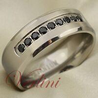 8MM Titanium Ring Black Diamond Simulated Mens Wedding Band Brushed Size 6-13