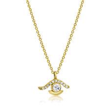 Collier Massiv Gold 585 Gold Kette mit Anhänger Auge Gelbgold 14K Halskette 45cm