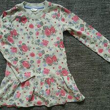 Niña manga larga vestido de flores grises 4-5 años de verano invierno