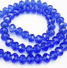 Hot Jewelry Faceted 50pcs Rondelle glass crystal #5040 4x6mm Beads Blue BCF8W18
