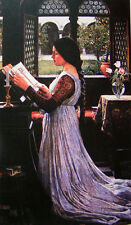 """Oil painting J. W. Waterhouse - The Missal - young lady is Praying no framed 36"""""""