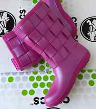 CROCS SUPER MOLDED WEAVE CROCBAND WELLIE RAIN SNOW BOOT SHOE~Pink Berry~W 4~NWT