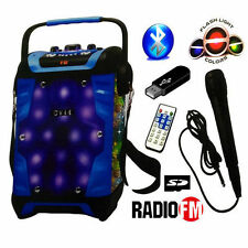 KARAOKE CASSA PORTATILE CON MICROFONO TELECOMANDO USB MICRO SD MP3 FM Bluetooth