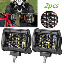2pcs 72W Flood Square Off Road ATV SUV 4X4 Car Boat Jeep Truck LED Light Bar Fog
