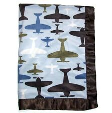 Cocalo Baby Airplane Blanket Blue Green Brown Satin Trim Security Lovey