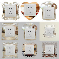 3D Silver Mirror Flower Light Switch Surround Wall Sticker Cover Frame Decor Lot