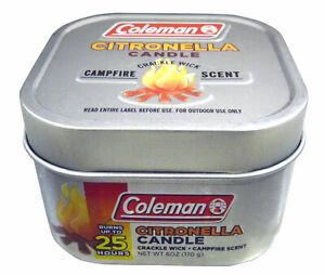 Coleman Citronella Tin 6 OZ  Repellent Candle Campfire Scent 25 Hour 7715 NEW