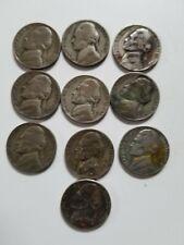 (Lot of 10) 1942P-1945S  JEFFERSON WAR SILVER NICKEL 35% Silver