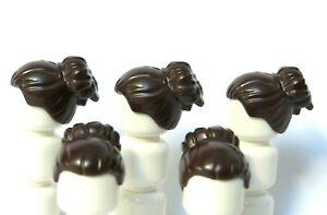 Lego 5 Girl Female Minifigure Figure Hair Wig  Dark Brown Bun