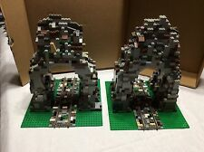 Lego Custom mountain tunnels with straight electric Train track 2 platforms