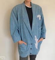 Vintage Pearl Embroidery Handmade Oversize Jeans Denim Jacket Women Size L