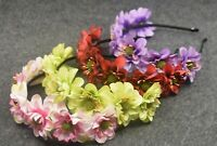 Women Flower Girl Fairy Boho Floral Wedding Party hair headband head band Hoop