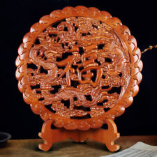 Wooden Wall Art Chinese Peach Wood Round Carved Plaque Home Hangings Decor
