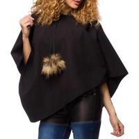 Mantellina donna poncho nero pompom comodo femminile outfit uy 14413 nuovo DD