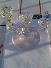 Heisey Elegant Glass Orchid Triple Light Candlestick Etched Floral