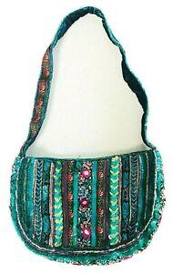 Accessorize Beaded Boho Style Green Blue & Pink Shoulder Bag