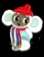 ONLY HAVE 1***CHEBURASHKA RUSSIAN OLYMPIC MASCOT LAPEL PIN - WHITE SNOW CLOTHES