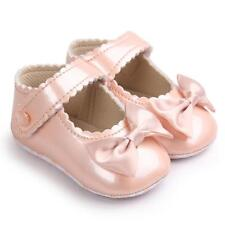Newborn Baby Girl Bow Anti-slip Leather Christening Pram Shoes Soft Sole Sneaker Red UK 2/fit for 6 12 Month