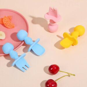 Spoon+Fork Baby Utensils Self Feed Toddler Silicone Feeding Training Cutlery Set