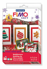 FIMO Soft Polymer Clay 6 x 57g Blocks Christmas Set Fun Modelling + Mould Set