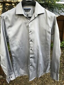 Geoffrey Beene fitted no iron shirt size 15 1/2 34/35 light fall fashion look M