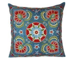 Silk Hand-Embroidered Suzani Pillow Cover, Suzani Pillow, Decorative Pillow