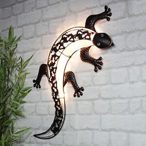 XL LED SOLAR Wandleuchte GECKO Wand Dekoleuchte Außenleuchte Wandlicht 32x72 cm