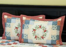 North Shore Collectible Quilts Garden Song 100% Cotton Hand-pieced Quilted Shams
