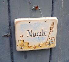 Original handmade/painted nautical/fishing wooden name plaque for boy/girl