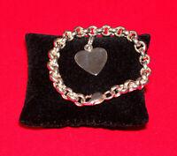 "Sterling Silver .925 Rolo Bracelet w/ Loose Heart Charm 25.5 Grams 7.5"" Free S/H"