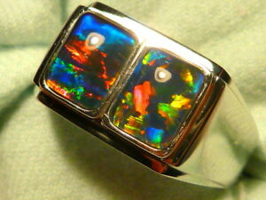 Mens Opal Ring 14ct White Gold Natural Opal Triplet  8 x 6mm Rectangles #110567.