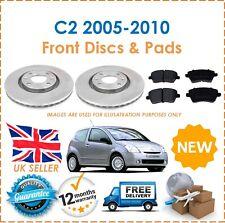 For Citroen C2 1.6 VTS 2005-2010 Two Front Vented 266MM Brake Discs & Brake Pads
