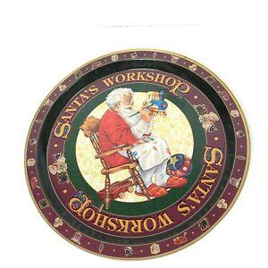 Santas Workshop Tin Cookie Tray Platter Plate Round Vintage Christmas