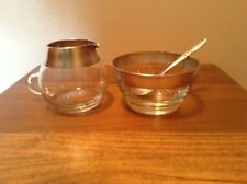 Vintage Libbey silver rim sugar and creamer with silverplate spoon