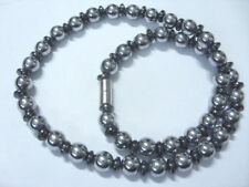 8 mm Edelstahl Hämatit Magnet Kugel Halskette 44,5 cm m.Linsen+ Magnetverschluss